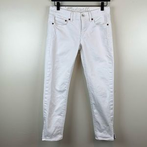 Madewell White Skinny Crop Ankle Zip Jeans 27